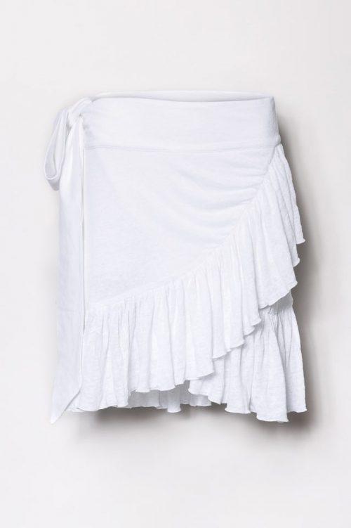 Hvit eller sort lin omlott kappeskjørt Cathrine Hammel - 206.118 linn ruffle skirt