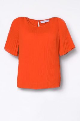 Korallrød plissébluse med kort erm Cathrine Hammel - 453.118 miami t-shirt
