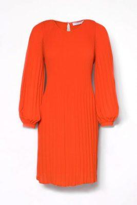 Korallrød plissékjole med lange puffermer Cathrine Hammel - 457.118 miami dress