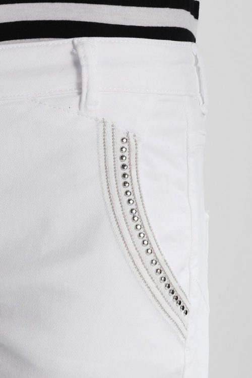 Rosa eller hvit chinos med studspaljetter Mos Mosh - 121860 etta 7/8 pant
