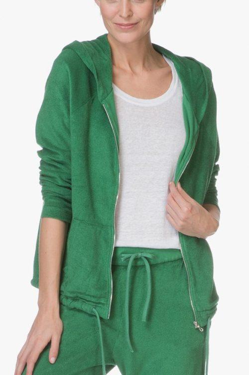 Grønn eller sort frotté hoodie Majestic Filatures - E184804