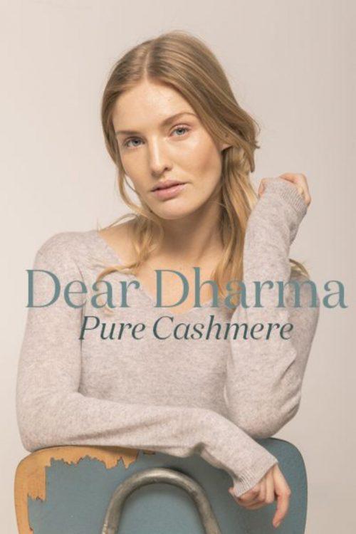 Marine (ikke beige) 100% cashmere genser Dear Dharma - vick v-neck