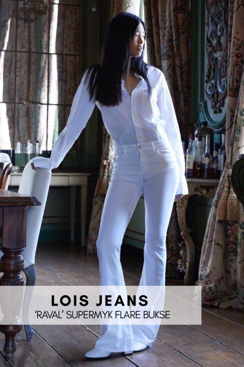 Hvit, sort, navy, rød eller sandfarget 'Raval' supermyk flare bukse Lois Jeans - Raval