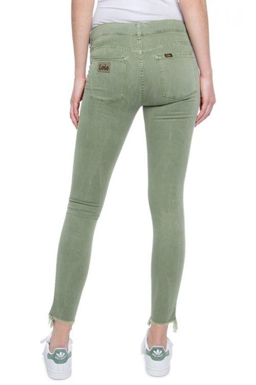Kakigrønn slitt viskose smal bukse Lois - Cordoba lea tie dye L32 / 201-5418