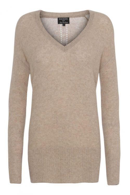 Beige 100% cashmere genser med høy ribbet bord Dear Dharma