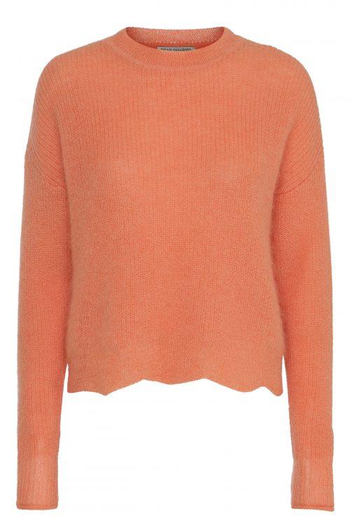 Korall eller rød mohairmix genser med bølgekant Dear Dharma - wavy