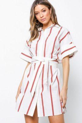 Hvit med rutstriper linbomull skjorte med kort erm By Malene Birger - stalla q65226003