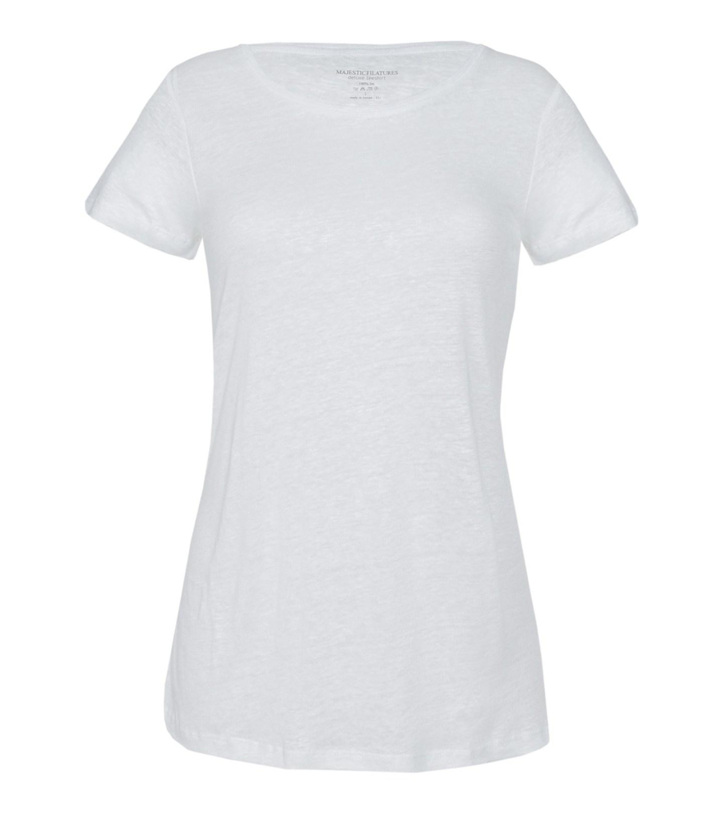 Hvit lin t-shirt Majestic Filatures - E171602