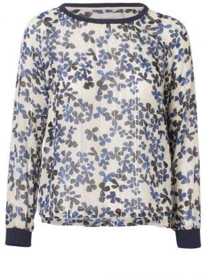 Ivoryblå blomstret silke/viskose blusetopp Munthe - peta