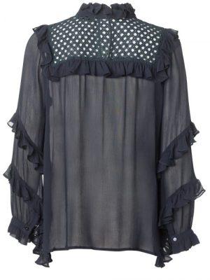 Blå viskose bluse med rysjer Munthe - passion