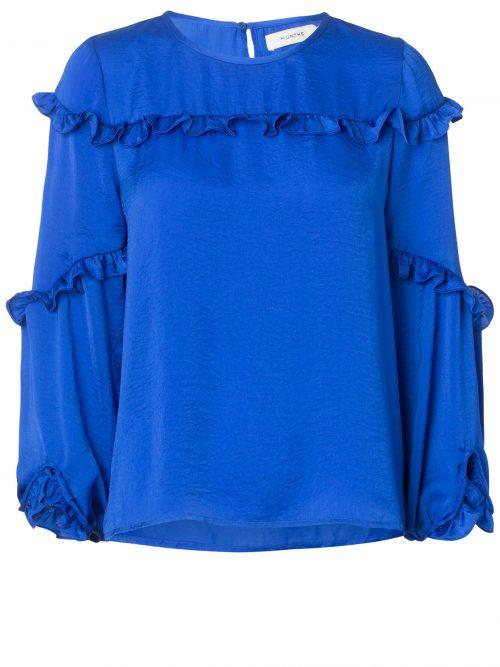 Kongeblå bluse med små volanger Munthe - philosophy