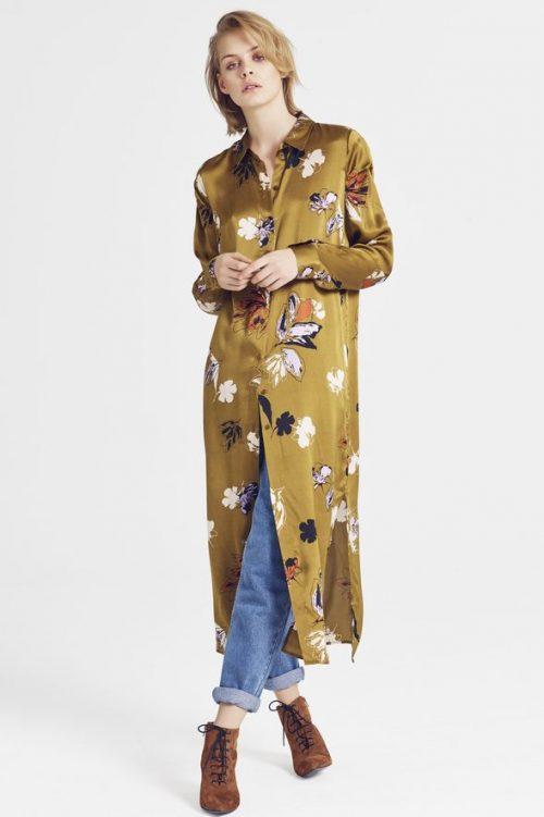Mønstret lang silkeskjorte Gestuz - aya long shirt