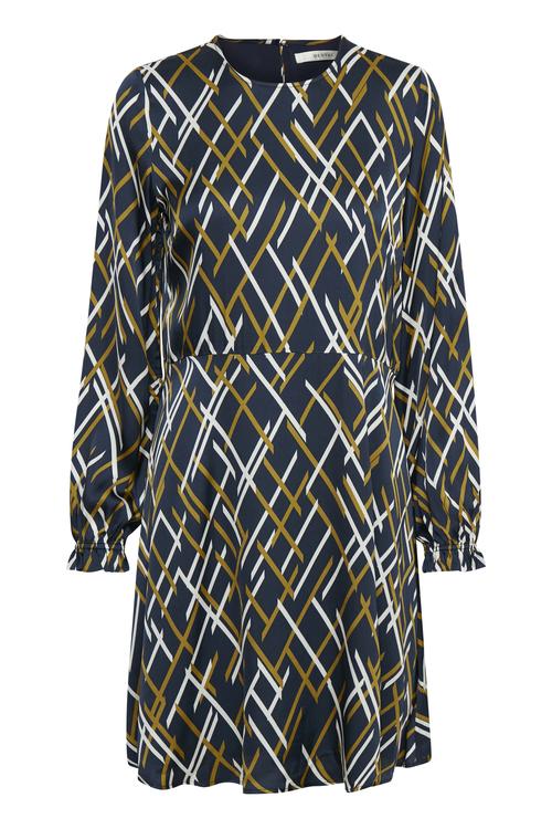 Moseblå grafisk mønstret viskose kjole Gestuz - vinta dress