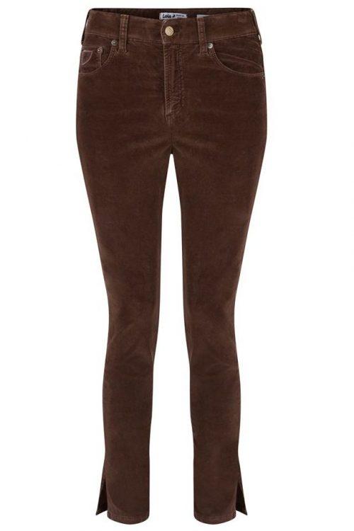 Chokobrown eller sand stretch microcord smal bukse med splitt og kvinneform Lois Jeans - celia spilt 2227 micro aged 5548 L34