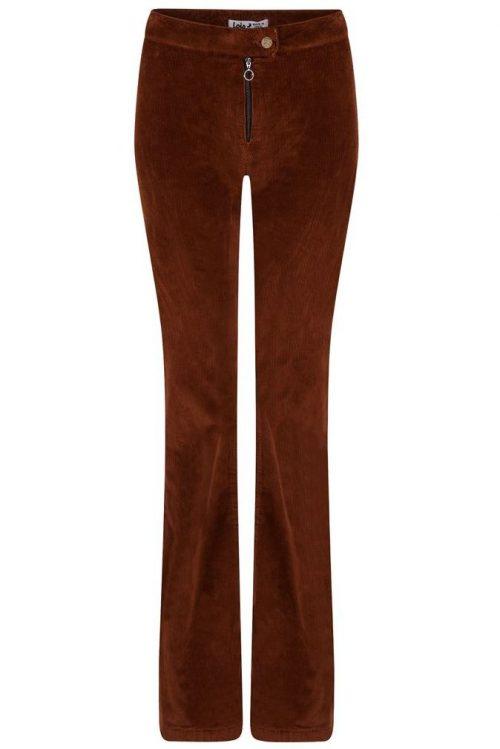 Superhot! Cognacbrun eller sort medium-bred cord 'Rawide' viddebukse med glidelås Lois Jeans
