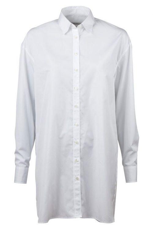 Supertrendy hvit storskjorte i bomullspoplyn Stenstrøms - 27100-6080