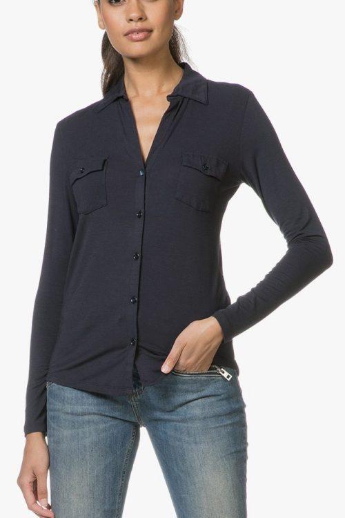 Hvit, sort eller navy viskose 'Anya' stretch skjorte Majestic Filatures - ANYA J002 fch 005