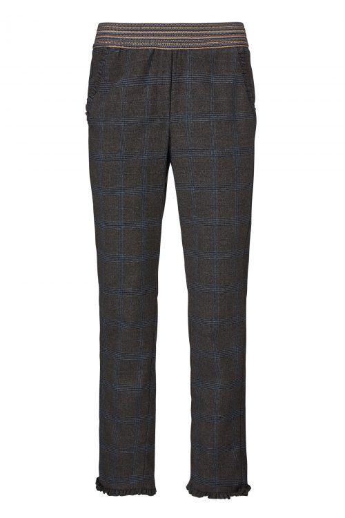 Gråblåbrunrutet bukse med strtch i liv og blondekant ved ankel Gustav - 28009-6535