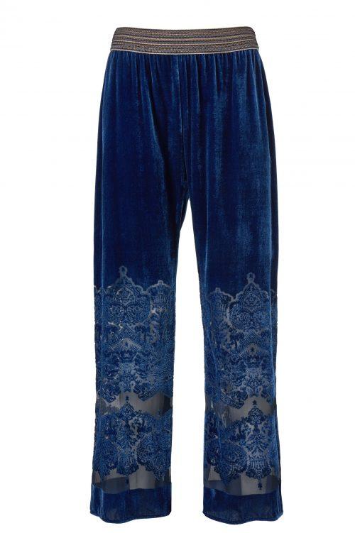 Brilliant blue velvet viddebukse Gustav - 28020-7126