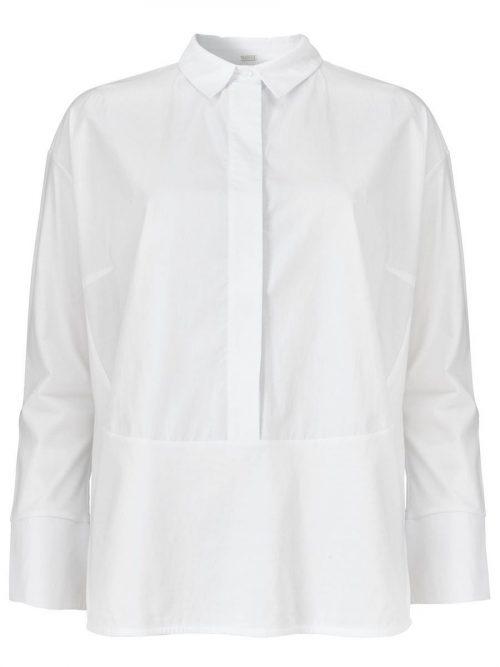 Hvit bomull t-shirt-skjorte med jerseyfelt Gustav - 28630-7225