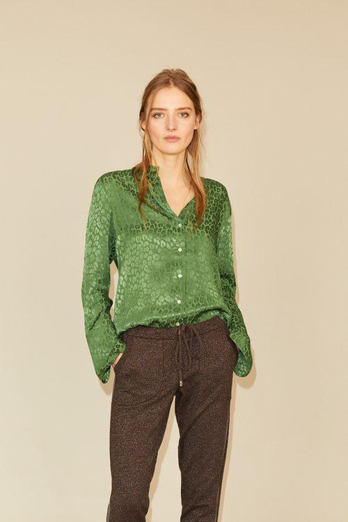 Guccigrønn skimret ton i ton leopard skjorte Gustav - 28605-7206