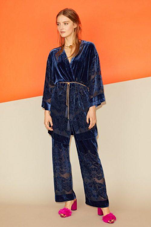 Brilliant blue velvet silke/viskose kimono Gustav - 28610-7126 Tilhørende viddebukse - 28020-7126