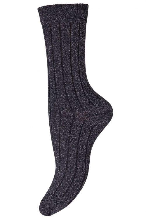 Sølv med sort stripe ankelsokk MP Denmark - Hailey 79561-727
