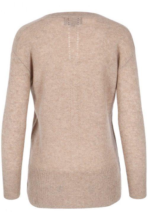 Beige 100% cashmere genser med høy ribbet bord Dear Dharma - veve