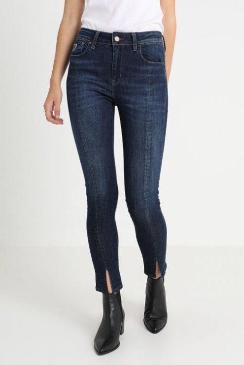 Supertrendy jeans smal bukse 'Cordoba' med søm og splitt foran Lois Jeans