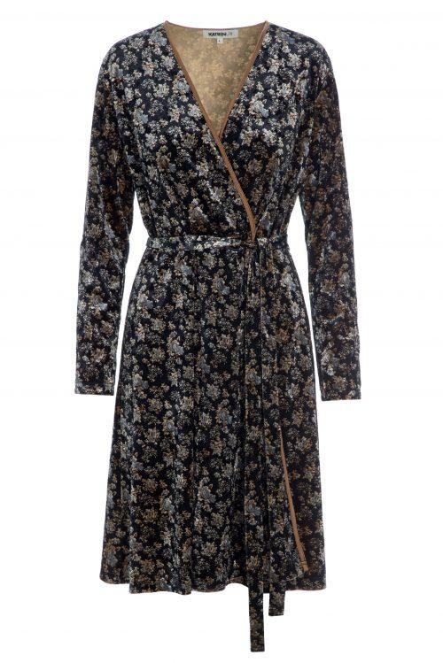 Blue black rosemønstret omelet velour kjole Katrin Uri - 648 holiday wrap dress