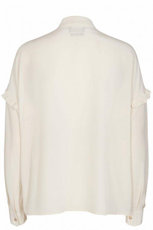 Ecru 'Raffey' 100% silkebluse med volangstolpe Mos Mosh - 123410 raffey silk shirt