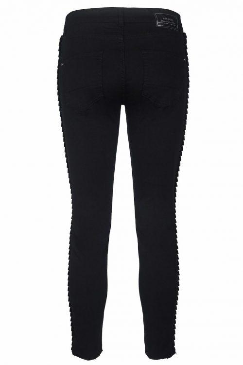Sort 'Sumner Velvet Frill' smal bukse med volangbølget smokingstripe Mosh Mosh - 124060 sumner velvet frill