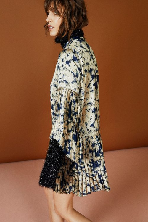 Indigogul mønstret plissékjole Munthe - valentin