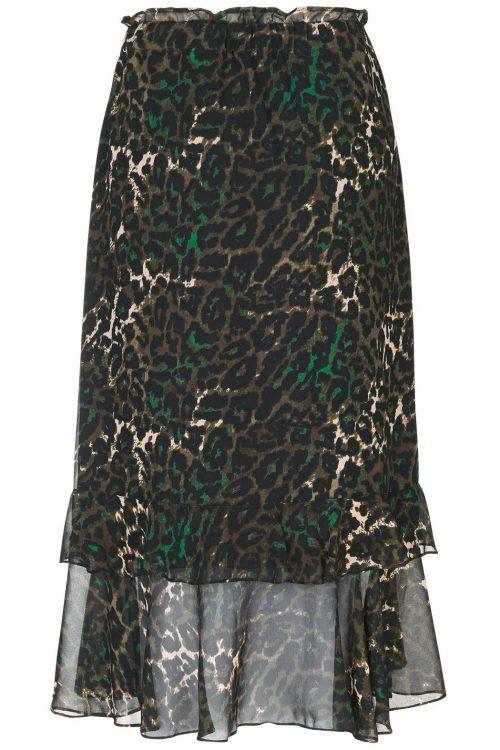 Grønn leopard halvlangt skjørt med volanger Munthe - vanvouver