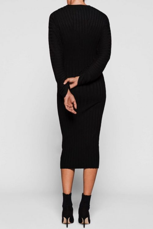 Sort lang ribbet kjole med poseerm One & Another - mars ribbed dress