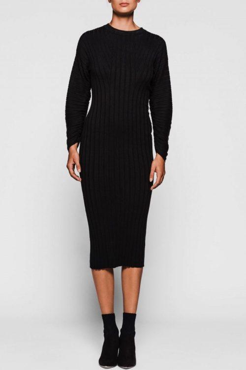 Sort lang ribbet kjole med poseerm One & Other - mars ribbed dress