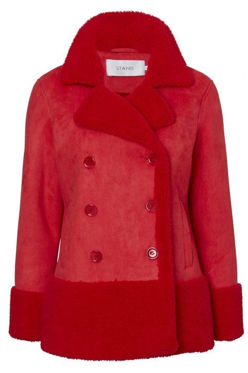 Rød eller sort fake shearling jakke fra Stand - johanne jacket