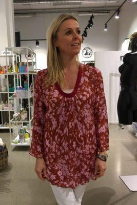 Rødrosa ller sorthvit mønstret silke/viskose blusetopp Nolita - fn7600 l0102