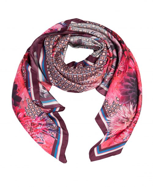 Burgunderrød mønstret silkeskjerf Dea Kudibal - metea como red