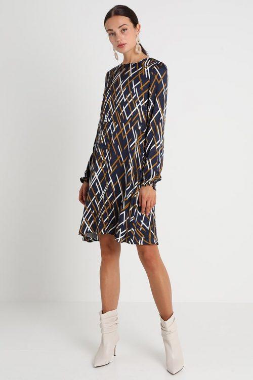 Moselblå grafisk mønstret viskose kjole Gestuz - vinta dress