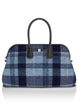 Wool blue rutet 'Principe' weekendbag Save my Bag - 10550N-LY-ST LYCRA W-BLUE