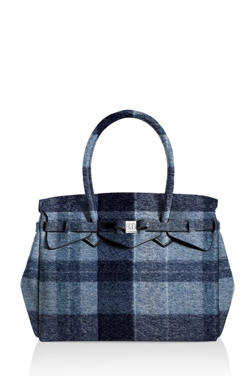Wool blue rutet 'Petite Miss' bag Save my Bag - 10104N-LY-ST LYCRA W-BLUE