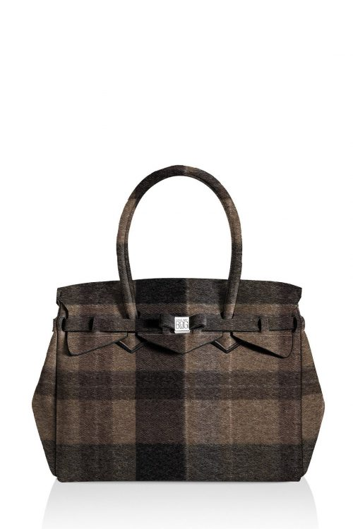 Wool brown rutet 'Petite Miss' bag Save my Bag - 10104N-LY-ST LYCRA W-BROWN