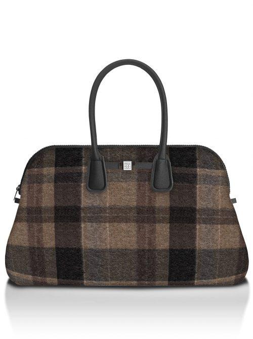Wool brown rutet 'Principe' weekendbag Save my Bag - 10550N-LY-ST LYCRA W-BROWN