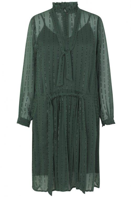 Grønnskimret kjole med knyting i sidene og lommer Munthe - Net