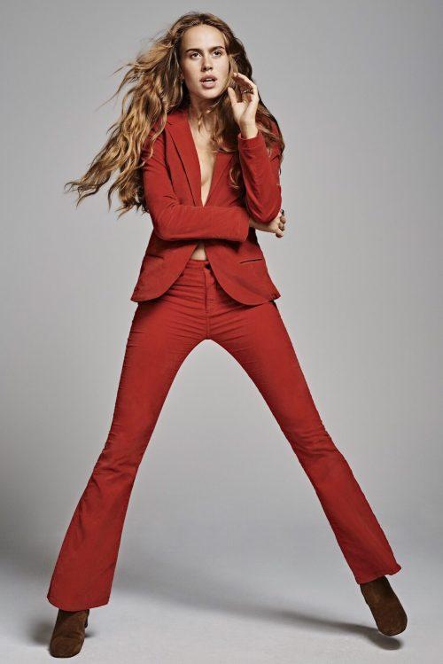 Rød viskose 'Raval' flare bukse Lois Jeans