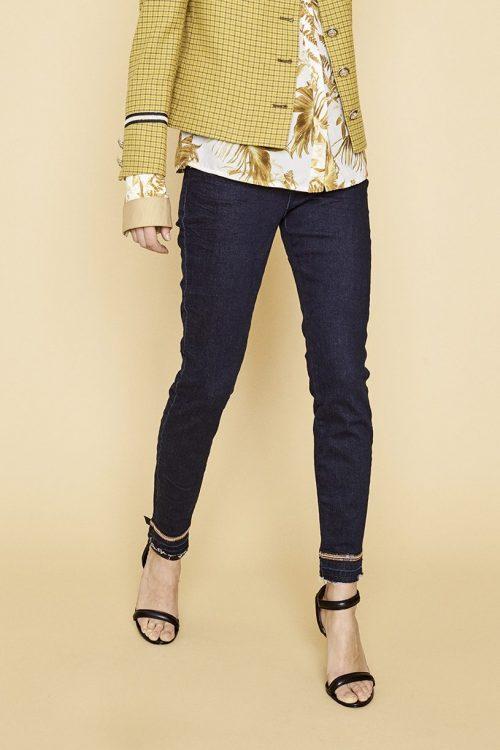 Dark blue denim jeans med paljetttsøm ved ankel Mos Mosh - 126650 sumner glam jeans