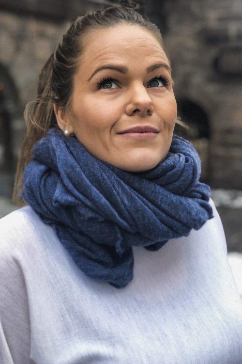 Blue melange 'Luxury' skjerf Natura Cashmere - Luxury 100x160 cm