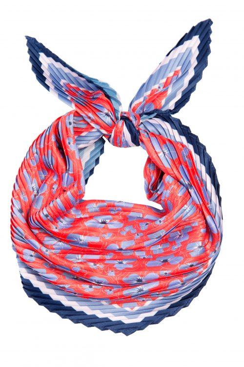 Rød med lyseblå mønstret hals-tørkle Dea Kudibal - scarf sease red