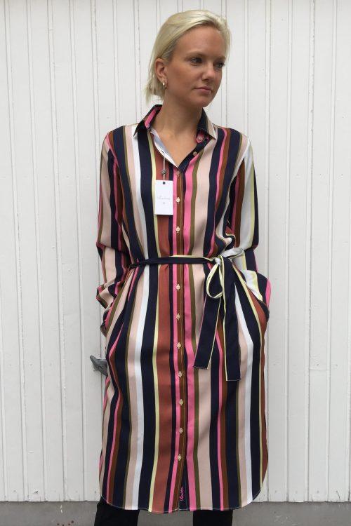 Rosablå-stripet viskose skjortekjole med belte Stenstrøms - 480023 6622